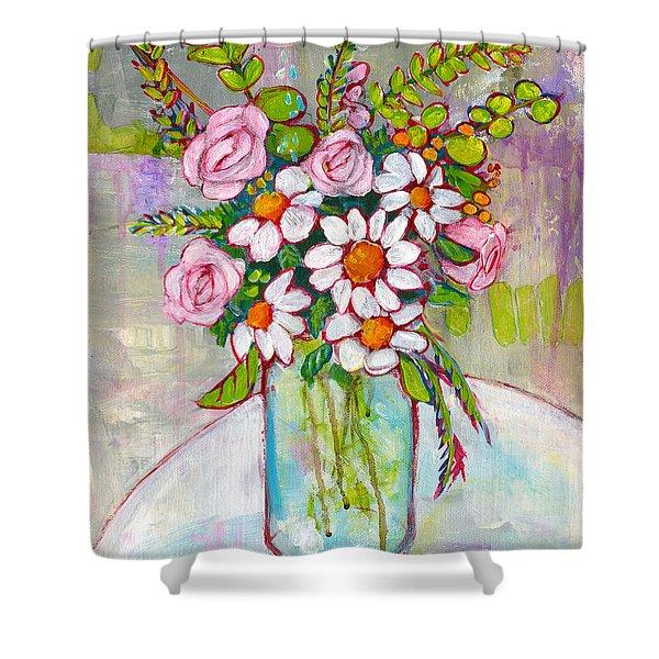 Olivia Daisy Flowers Shower Curtain
