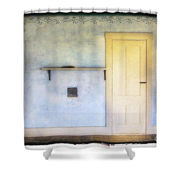 Olson White Door Shower Curtain