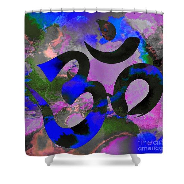 Om Symbol, Black, Blue And Purple Shower Curtain