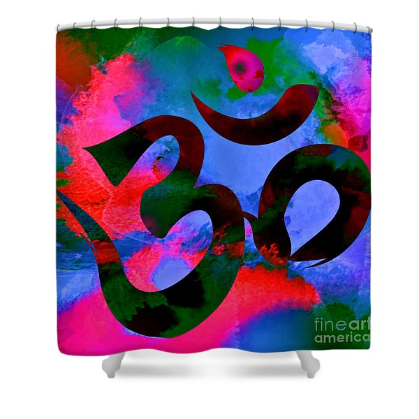 Om Symbol, Hot Pink And Blue Shower Curtain