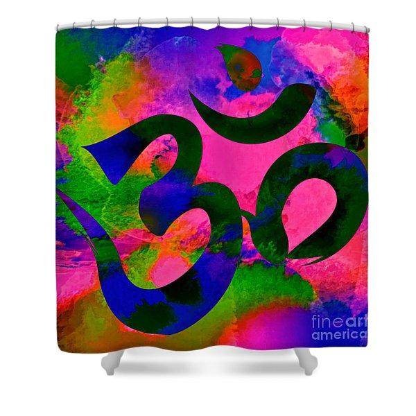 Om Symbol, Rainbow, Ver2 Shower Curtain