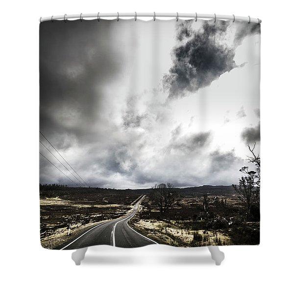 On A Dark Deserted Highway Shower Curtain