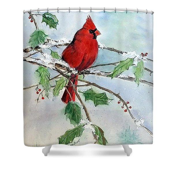 On A Snowy Perch Shower Curtain