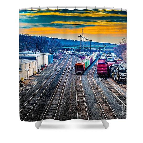 On A Suffern Railroad Track Shower Curtain