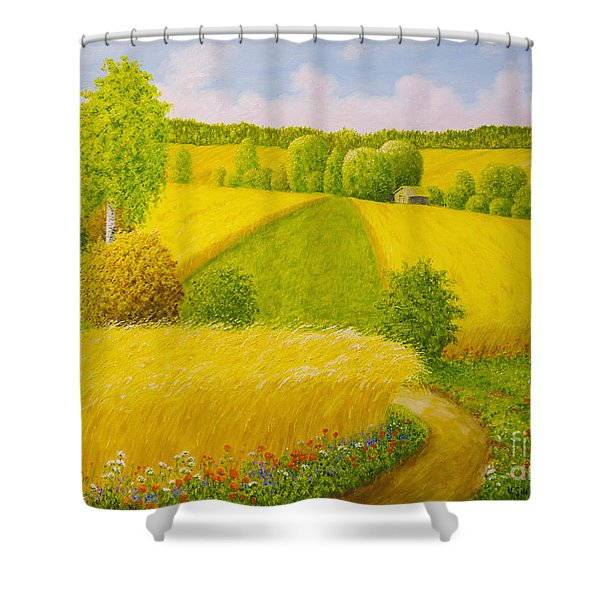 On August Grain Fields Shower Curtain