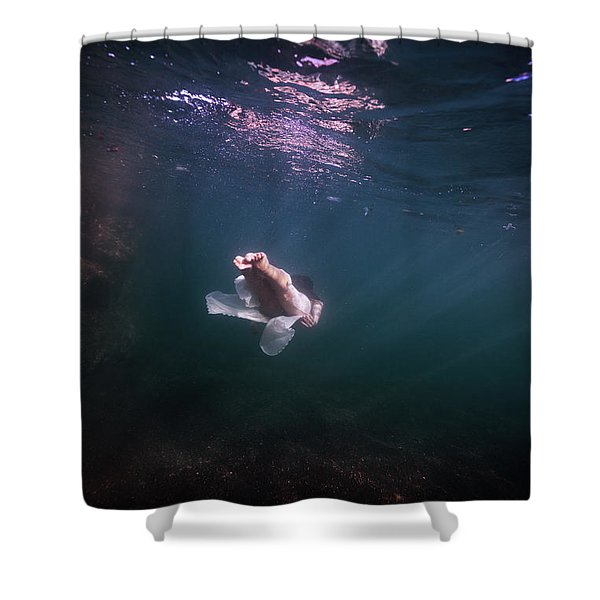 On Her Way To The Deep Shower Curtain
