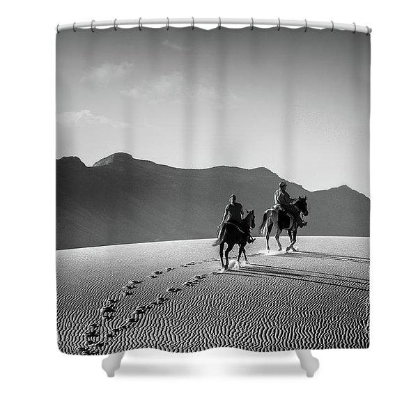 On Horseback At White Sands Shower Curtain