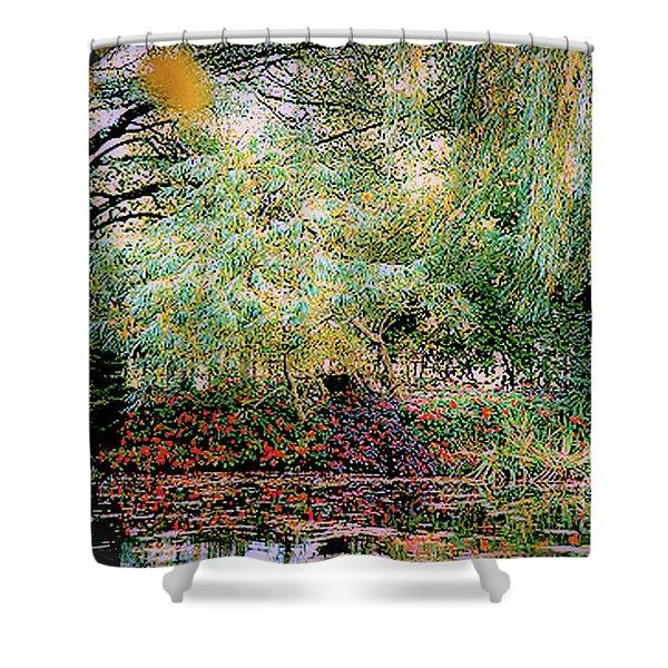 Reflection On, Oscar - Claude Monet's Garden Pond Shower Curtain