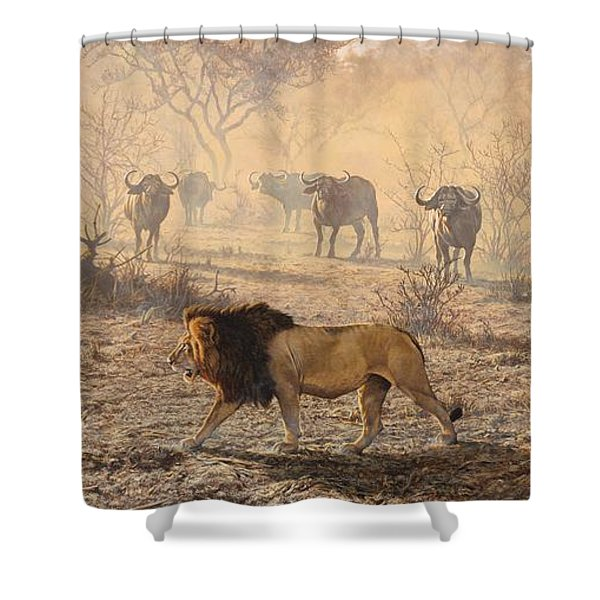 Shower Curtain featuring the painting On Patrol by Alan M Hunt