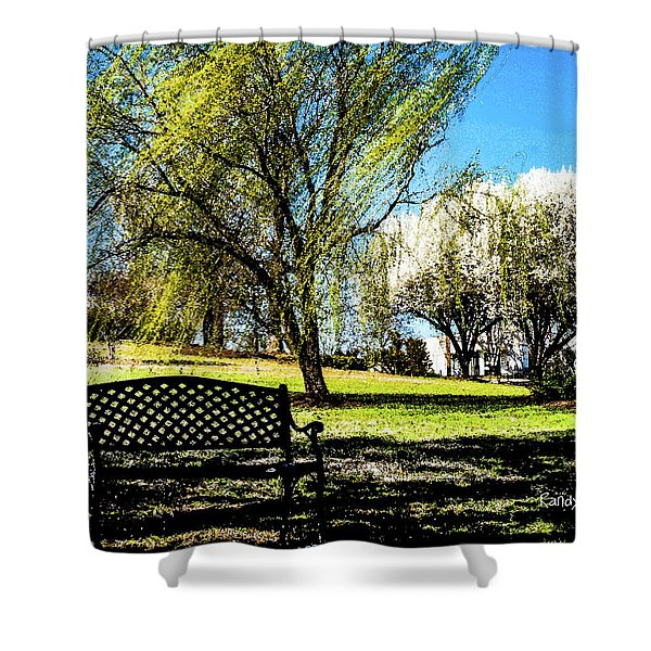 On The Bench Shower Curtain