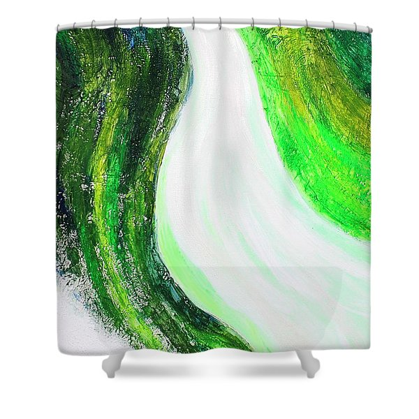 On The Road In Green Shower Curtain