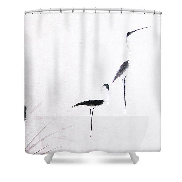 On Typha Pond Shower Curtain by Oiyee  At Oystudio