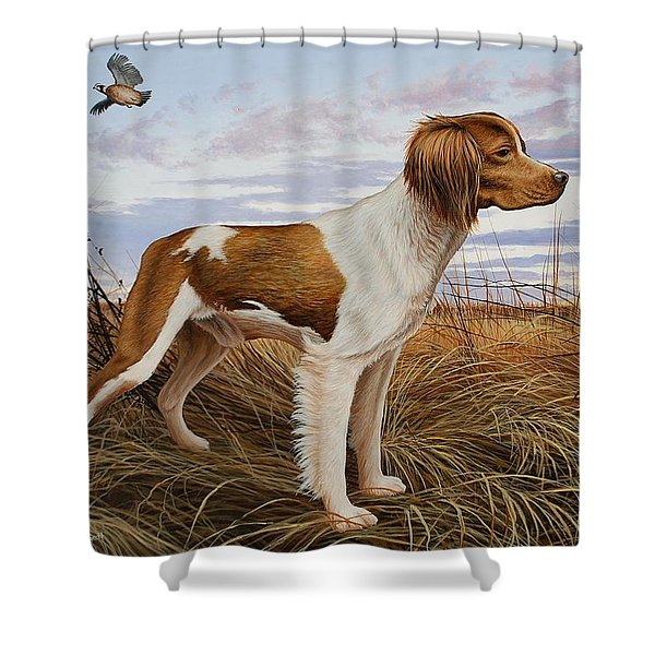 On Watch - Brittany Spaniel Shower Curtain