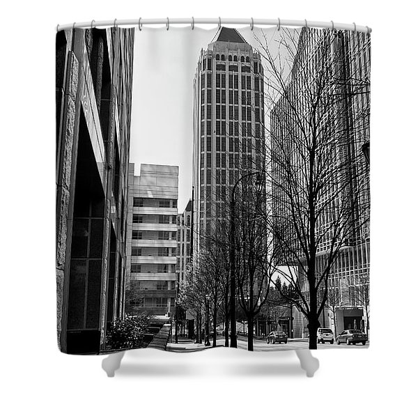 One Atlantic Center In Black And White Shower Curtain