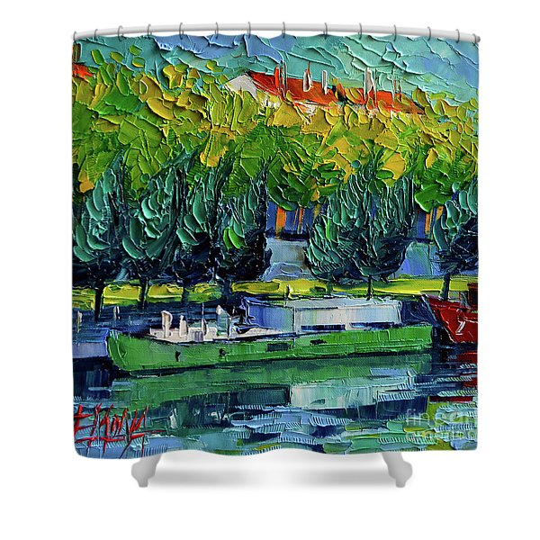 One Barge On The Rhone River - Impasto Palette Knife Oil Painting Shower Curtain