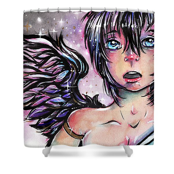 One Dark Wing  Shower Curtain