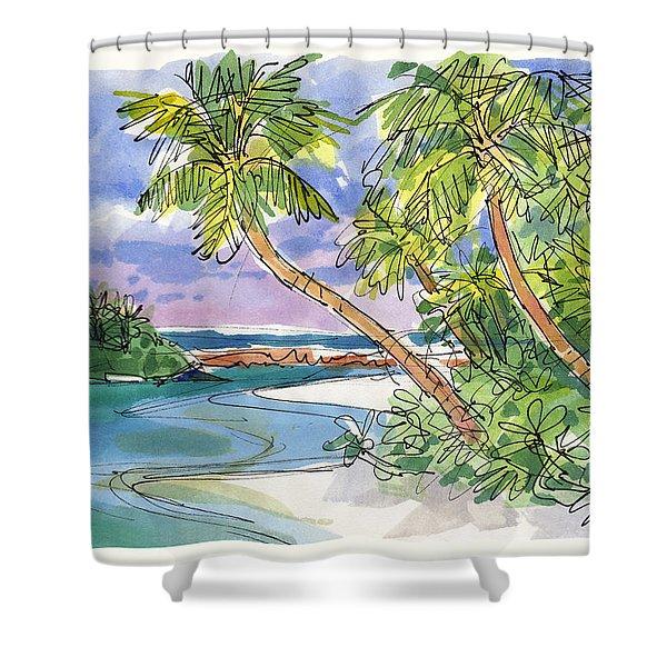 One-foot-island, Aitutaki Shower Curtain