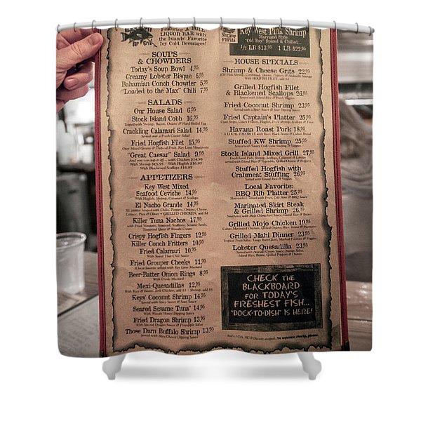 One Good Menu Stock Island Florida Keys Shower Curtain