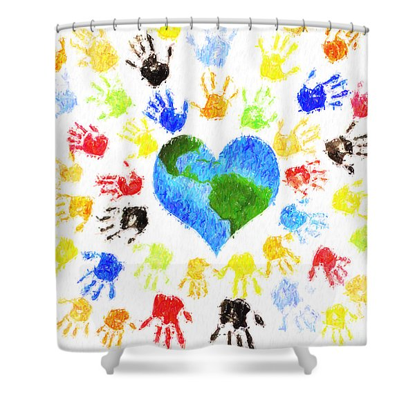 One Heart Shower Curtain