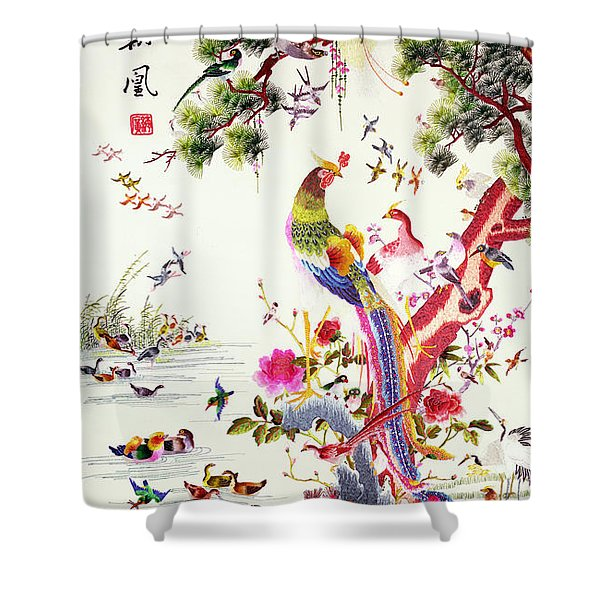 One Hundred Birds With A Phoenix, Canton, Republic Period Shower Curtain