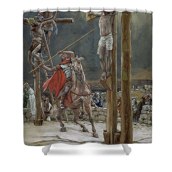 One Of The Soldiers With A Spear Pierced His Side Shower Curtain