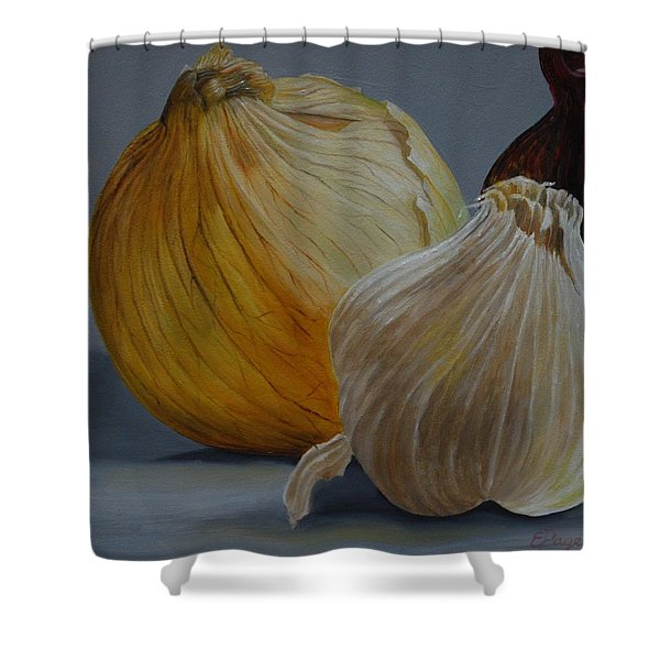 Onions And Garlic Shower Curtain