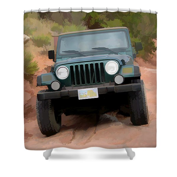 Only Jeeps Here Shower Curtain
