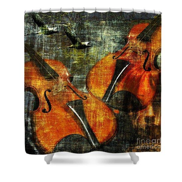 Only Music Heals A Broken Heart Shower Curtain