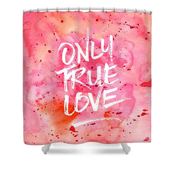 Only True Love Handpainted Abstract Watercolor Red Pink Orange Shower Curtain