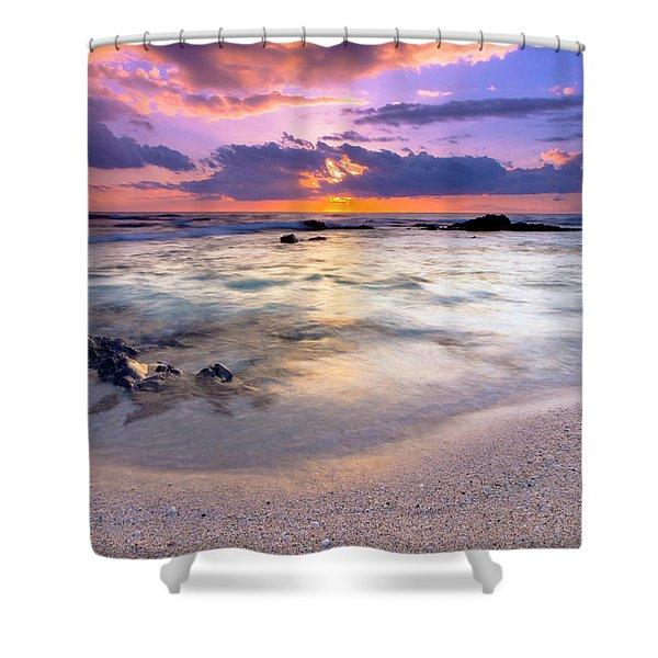O'oma Beach Sunset Shower Curtain