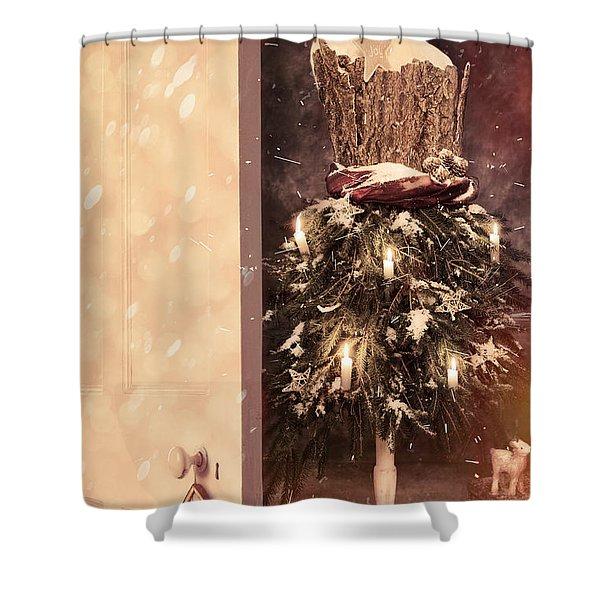 Open Door Into Christmas Shower Curtain