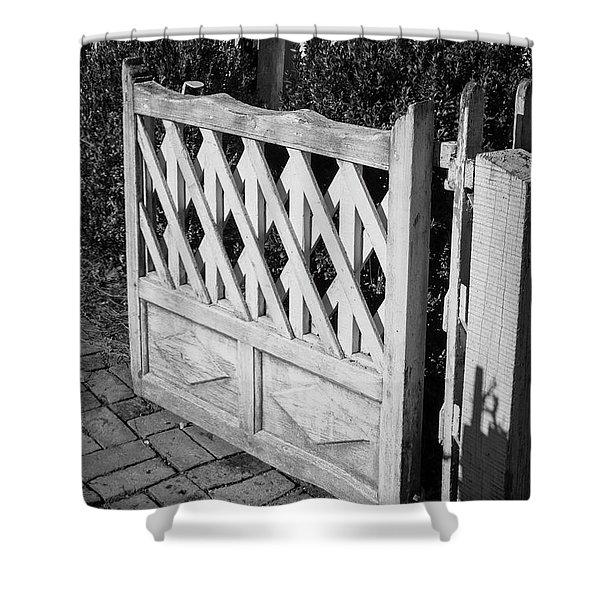 Open Garden Gate B W Shower Curtain