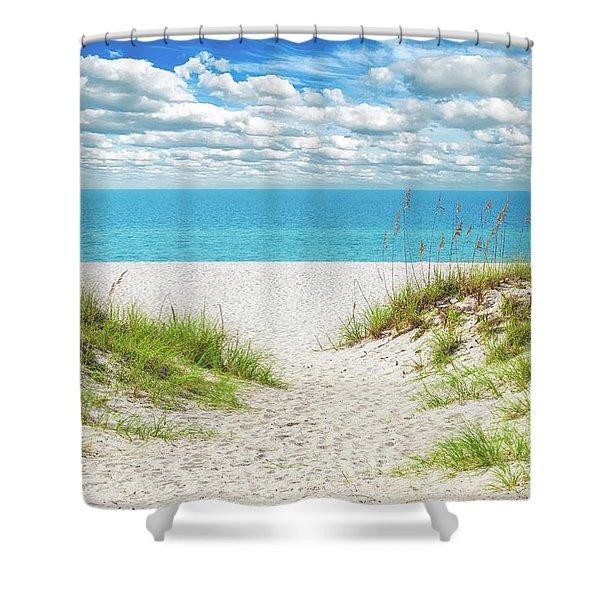 Orange Beach Al Seascape 1086a Shower Curtain