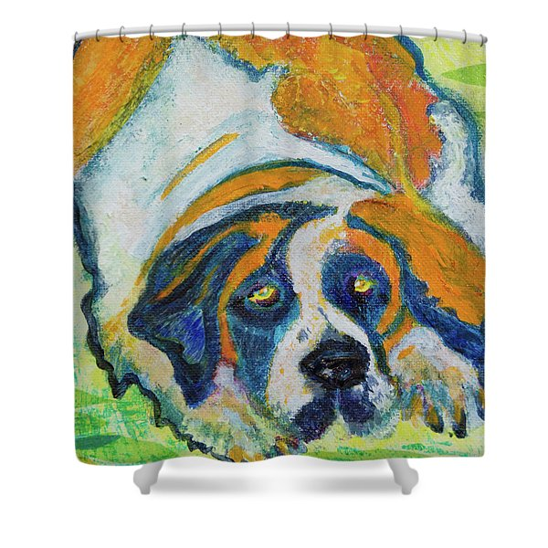 Orange Bernard Shower Curtain