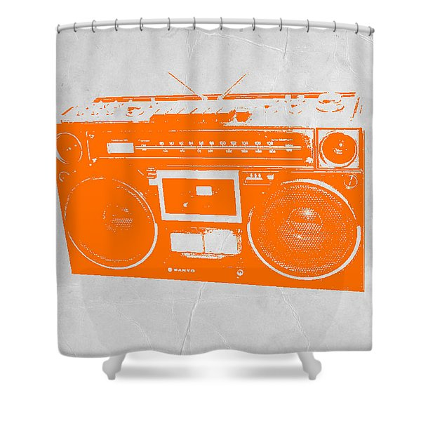Orange Boombox Shower Curtain