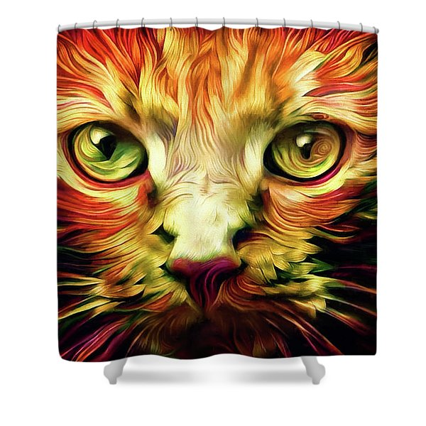 Orange Cat Art - Feed Me Shower Curtain