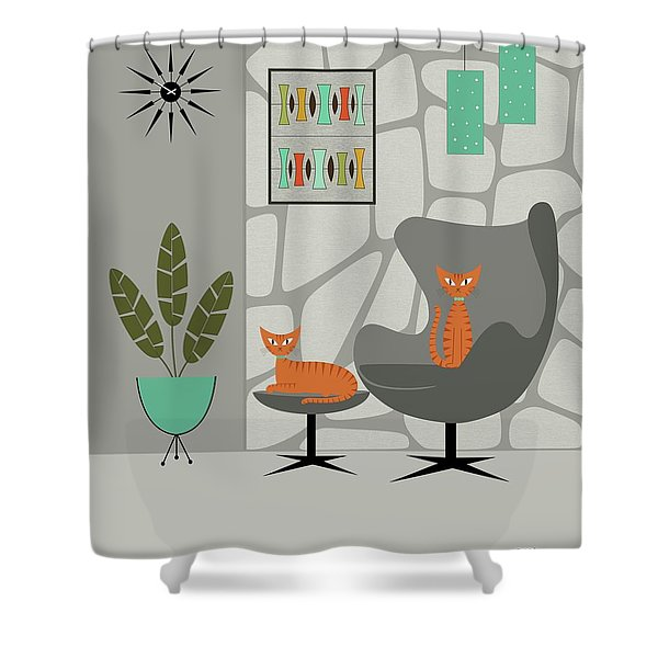 Orange Cat In Gray Stone Wall Shower Curtain