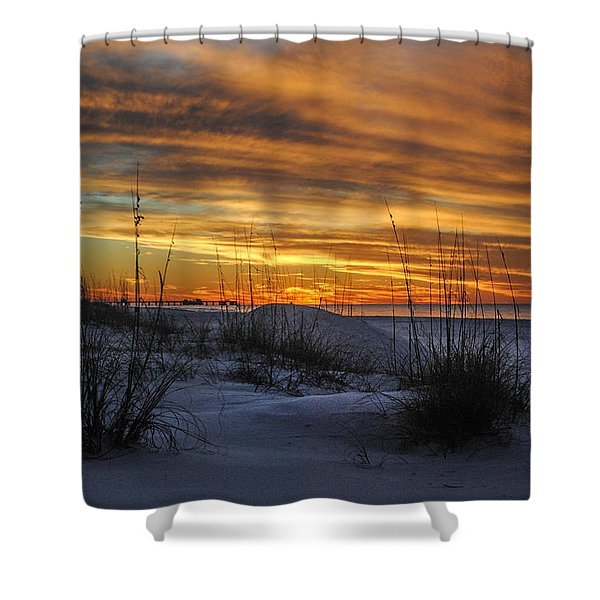 Orange Clouded Sunrise Over The Pier Shower Curtain