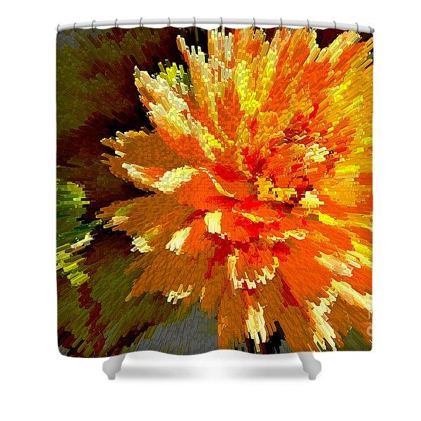 Orange Dahlia Shower Curtain