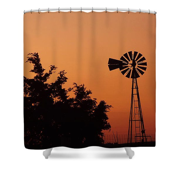 Orange Dawn With Windmill Shower Curtain