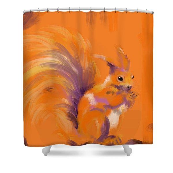 Orange Forest Squirrel Shower Curtain