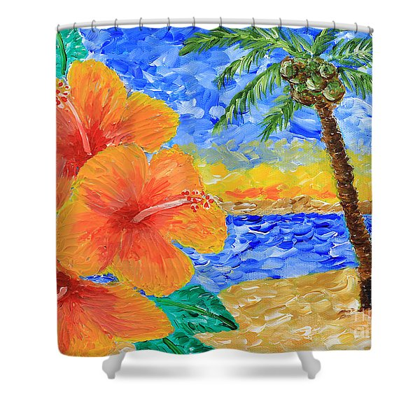 Orange Hibiscus Coconut Tree Sunrise Tropical Beach Painting Shower Curtain