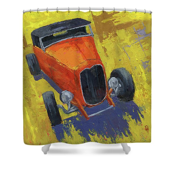 Orange Hot Rod Roadster Shower Curtain