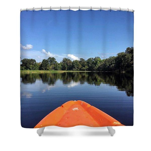 Orange Kayak  Shower Curtain