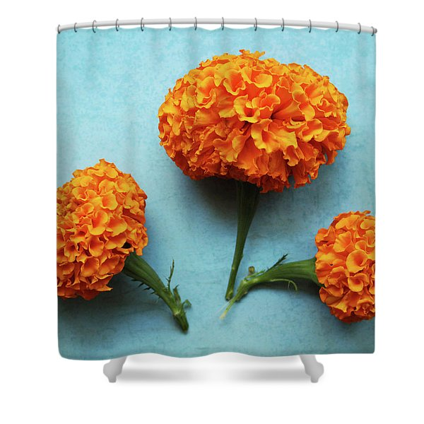 Orange Marigolds- By Linda Woods Shower Curtain