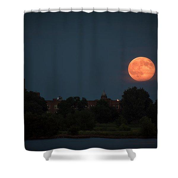 Orange Moon Shower Curtain