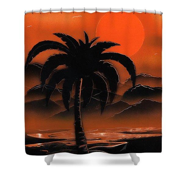 Orange Oasis Shower Curtain