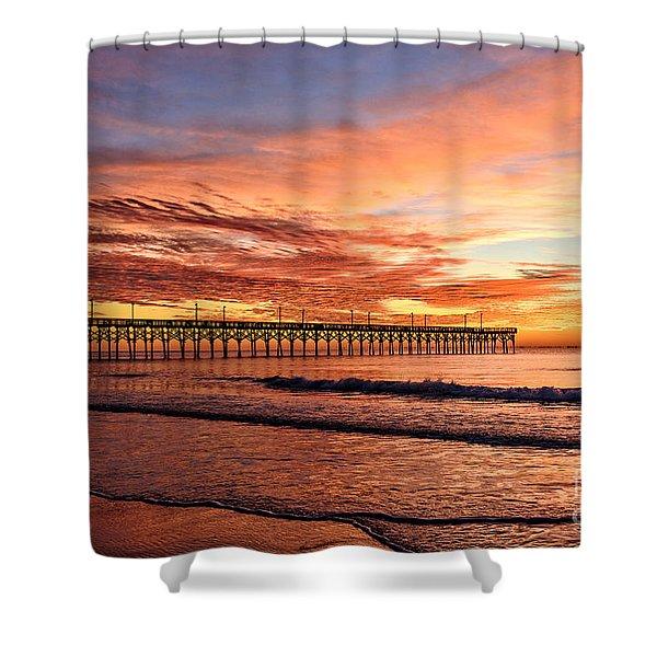 Orange Pier Shower Curtain