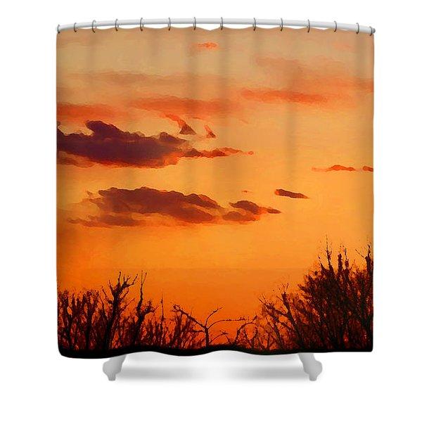 Orange Sky At Night Shower Curtain