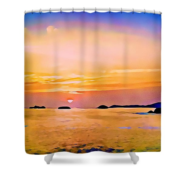 Orange Sky In Ixtapa, Mexico Shower Curtain